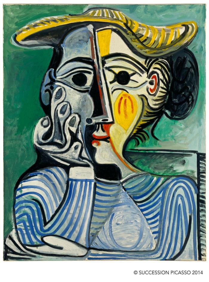 Pablo Picasso Mujer de chongo con sombrero amarillo 1961-1962