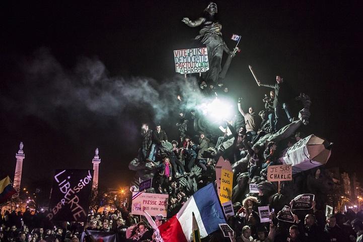 © Corentin Fohlen/ pour Stern et Paris Match/ Divergence. Paris, France. 11 janvier 2015. Manifestation a paris contre le terrorisme et en soutien aux victimes de l'attaque contre le journal Charlie Hebdo et l'epicerie casher.