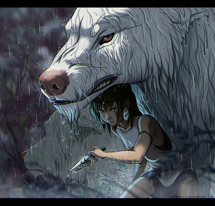 princess_mononoke_in_rain_by_tamberella-d8tamg3